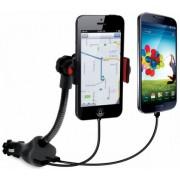 Incarcator Auto iSound ISOUND-5471, 2x USB, 2.1A, suport auto, cablu audio 3.5mm inclus (Negru)