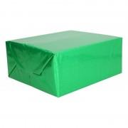 Shoppartners Holografisch inpakpapier/cadeaupapier groen metallic 70 x 150 cm