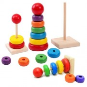 CCNN Toys Wooden Toy Rainbow Tower Ring Kid Baby Stacking Stack Up Nest Learning Education