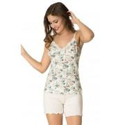 Pijama damă 11035 Iveta albă cu flori XL