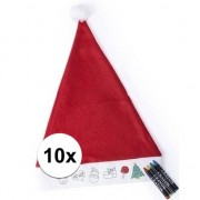 Bellatio Decorations 10 Kerstmutsen voor kinderen inkleurbaar inclusief 4 waskrijtjes