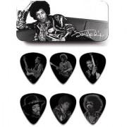 Dunlop JHPT05H Jimi Hendrix Silver Portrait Series Pick Tin Assorted Heavy 6 Picks/Tin
