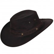 Scippis Lederhut Cowboyhut Springbrook aus 100% weichem Leder mit geflochtenem Hutband Schwarz XL