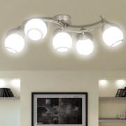 Лампа за таван с 5 стъклени абажура на извита релса за крушки тип Е14
