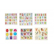 Baybee Premium Wooden Puzzles - Set of 6 for attractive price discount- Wooden Capital Letter Puzzle, Small Letters, 0 to 20 Puzzle, Geometric Shape Sorter, Fruits Puzzle, Animal Puzzle