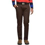 American Noti Stretchabel Brown Cotton Lycra Chinos Men's Trouser