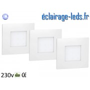 Kit support LED Blanc encastrable Sol et Mur bleu 1W 230v ref sms-06