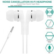 Dvaio stereo earphone with high treble and high performance with Bass (with Mic) white
