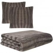 vidaXL Set pătură și huse de pernă din blană artificială, gri, 3 piese
