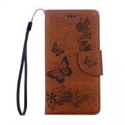 Minyangjie Caja del teléfono móvil Gran for Huawei Honor 5c Presionado modelo de flores de la mariposa del cuero del tirón con el sostenedor y ranuras for tarjetas y monedero y la cuerda de seguridad (Negro) Hor