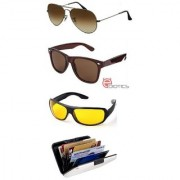 Ediotics Classic Brown Aviator Classic Brown Wayfarer Yellowt Night Driving Sunglasses Alumi Wallet Combo