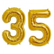 Stylewell Solid Golden Color 2 Digit Number (35) 3d Foil Balloon for Birthday Celebration Anniversary Parties