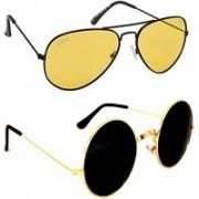Criba Round, Aviator Sunglasses(Black, Yellow)