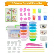 12PCS Crystal Slime Clay,Slime Making Kit Clear Putty Mud Toys for Children Kids Including DIY Moulds and Straws and Storage Box by OffKits (12PCS)