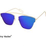 Ivy Vacker Golden Blue Mirrored Square Aviator Sunglasses