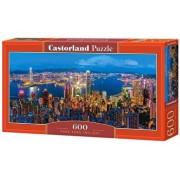 Puzzle panoramic Hong Kong la apus, 600 piese