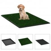 vidaXL Кучешка тоалетна с тава и изкуствена трева, зелена, 64x51x3 см