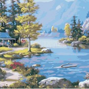 ELECTROPRIME® Paint by Numbers DIY Painting Drawing On Canvas Wall Decor Lakeside Lodge