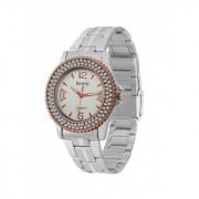 howdy Crystal Studded Analog White Dial Stainless Steel Chian Watch- for - Women's Girl's ss361