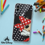 Disney Cover Iphone X/xs Design Minnie/pois Silicone Gel Sottile Disney Trasparente