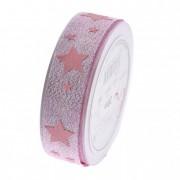 Szalag glitteres csillagokkal 25mmx20m rózsaszín