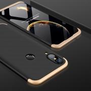 GKK Para Huawei P20 Lite PC 360 Grados La Plena Cobertura Protectora Caso Cubierta Trasera (negro + Oro)
