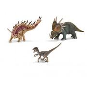 SuePerior Living Schleich Dinosaurs Playset - Realistic Dinosaur Figures Set - Velociraptor Styracosaurus Kentrosaurus