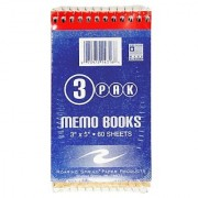 Roaring Spring Memo Book 3 x 5 Inches 60 Sheets Assorted Colors 3 per Pack