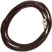 Men Style 4mm Rope Four Layer Multilayer Braided Leather Magnetic Clasp Brown Silver Stainless Steel Bracelet For Men