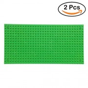 "Fancyku 2 Pack Building Base Plates 5"" x 10"" Original Base Plate - Compatible with All Major Brands (Green)"