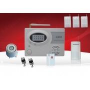 IP-AP007-4 - безжична GSM аларма за дома с 4 обемени датчика за движение, 1 МУК за врата(паник бутон) и 2 дистанционни