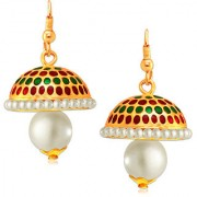 Spargz Traditional Hanging Gold Plaint Pretty Jhumkas Earrings For Women AIER 645