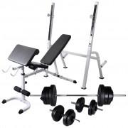 vidaXL Banco musculação c/ suporte p/ pesos + barras e halteres 60,5kg