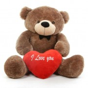 3.5 feet big dark brown teddy bear with red I Love You Heart