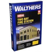 "Walthers - Two-Bay Fire Station - Kit (Plastic) -- 8 x 4-7/8 x 5-1/2"" 20.3 x 12.4 x 14cm - HO"
