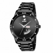 Espoir Analogue Stainless Steel Black Dial Day and Date Men's Boy's Watch - BlackMovadoStrom