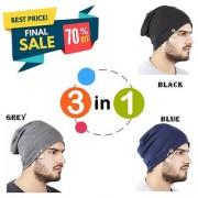 Beanie Cap Stylish Collection Ring / woolen cap / Beanie Cap/ winter cap/ fall hat (Color Black + Blue + Grey)