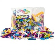 "Building Bricks - 500 Pc ""Big Bag of Bricks"" Bulk Pastel Friends-colored Blocks with 27 Roof Pieces"