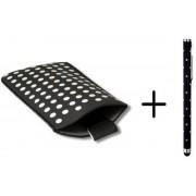 Polka Dot Hoesje voor Huawei Ascend Y300 met gratis Polka Dot Stylus, Zwart, merk i12Cover