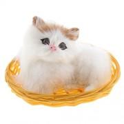 Phenovo Lifelike Cute Cat Animal Doll Sitting In Basket Plush Kids Toy Home Office Car Decor Ornament Kids Gift #2