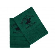 Set Prosoape De Maini Beverly Hills Polo Club Green, 100% bumbac, 2 bucati, verde, 50x90 cm