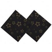 Geen 24x Servetten zwart met gouden sterren