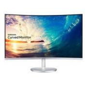 Samsung CF591 Series C27F591FDU Écran LCD 27, dalle VA, 16:9, résolution Full HD 1920 x 1080, luminosité 250 cd/m2, temps de réponse 4 ms, angle de vision 178 degrés, inclinable, haut-parleur intégré, interfaces HDMI, VGA, DisplayPort, 4.4 kg, argent blan