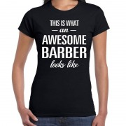 Bellatio Decorations Awesome barber / kapsters cadeau t-shirt zwart voor dames S - Feestshirts