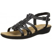 Clarks Women's Black Leather Fashion Sandals - 3.5 UK/India (36 EU)