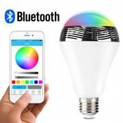 Nueva Bluetooth 4.0 Speaker inteligente luz de noche LED Bombilla Audio Música RGB candeleros Smartphone gratuito APP controlada regulable multicolor colorido LED Display uno
