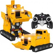 MZ High Quality 1:14 Scale 2.4 Ghz Big Size RC Remote Control Transformer Robot Excavator Bulldozer Truck / Crane, Deformation Shooting Transformer Bumblebee