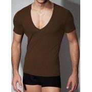 Doreanse Облегающая мужская футболка коричневого цвета с глубоким вырезом Doreanse City 2820c88