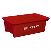 EUROKRAFT Drehstapelbehälter aus lebensmittelechtem Polypropylen Inhalt 34 Liter, VE 3 Stk Wände und Boden geschlossen, rot