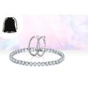 Genova International Ltd £6.99 instead of £89 for a crystal tennis bracelet and hoop earrings set from Genova International Ltd - save 92%